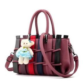 Colourful Korean Weaving Fashion Bag Pink