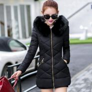 Women Mid-Length Winter Jacket with Removable Hood