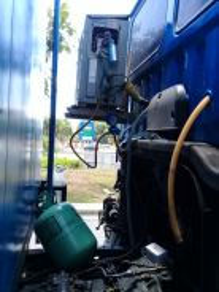 Topup gas.kurang sejuk.checking eletrical trip