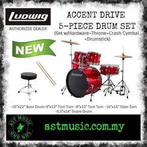 Ludwig Accent Drive Complete Drum Package - Red