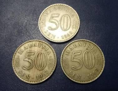 Duit syiling 50 sen lama 1967,1968,1969
