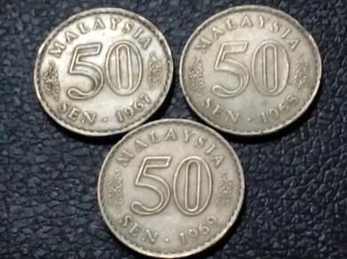 1967,1968,1969 MALAYSIA 50sen (VF) set#A