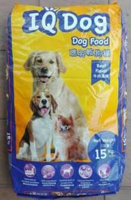 IQ Dog Beef Flavor Dog Food Makanan Anjing 15kg