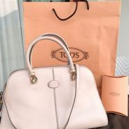 Tods Taupe Leather Medium Sella Bag