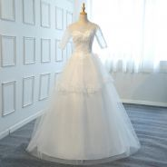 White long sleeve wedding bridal dress gown RB0939
