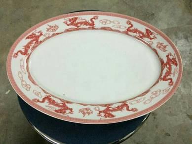 EEQ pml Antik pinggan naga merah oval dragon plate