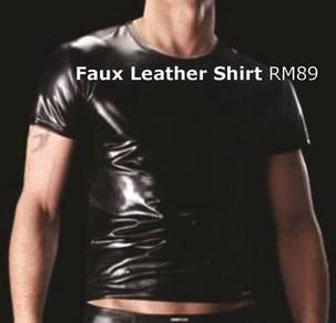 Men Tight Vest Faux Leather Muscle Tee
