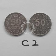 Malaya coin Queen 1961, 1961H 50 cents 2 pcs vf C2