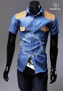 MF1721D Korean Wild Cowboy Mens Short Sleeve Shirt