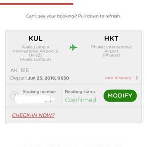 AirAsia KL to PHUKET (2person)
