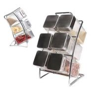 FB1606 Slots spice rack with Glass jars
