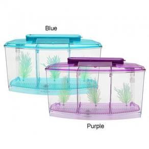 Triple Cube 6 LED Light Betta Aquarium Box Fish