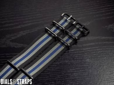 Black Grey Navy 5 Stripes PVD NATO Strap