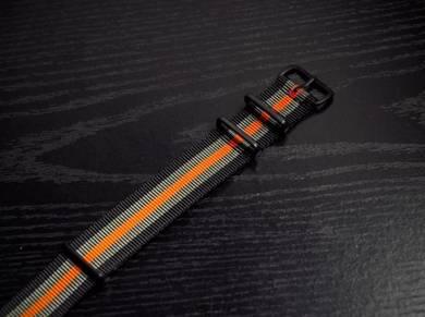 Black Grey Orange 5 Stripes PVD NATO Strap