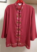Chinese Style Blouse With Embroidery (Plus Size)