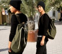 Green Army Style Drawstring Zipper Backpack Bag