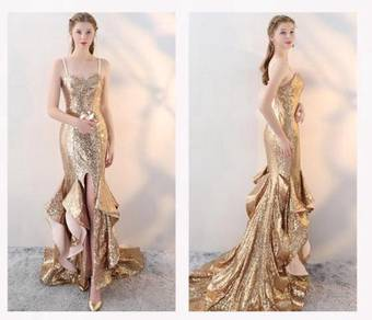 Gold prom wedding bridal gown RBP0713