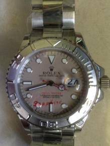 Jam old school yacht master big metallic watch