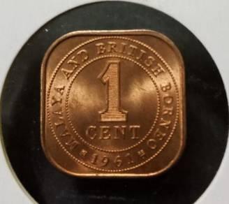 Malaya & British Borneo 1 Cent 1961 (UNC)