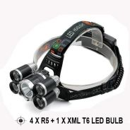Headlamp 10k Lumen 4xR5 + Xml T6 Led Flashlight O