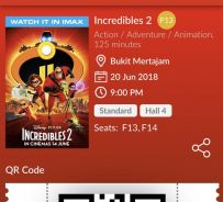 Incredibles 2 TGV movie ticket x 2
