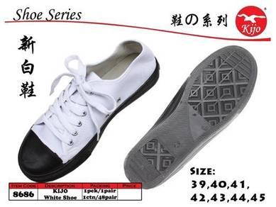 8686 Kijo School White Shoe