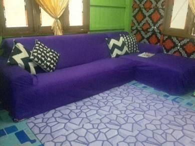 Sofa L size bsr termasuk 4bji bantal hias