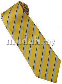 EY1 Yellow Blue Silver Striped Formal Neck Tie
