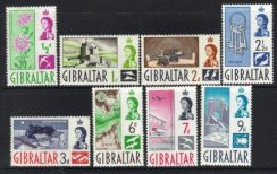 GIBRALTAR stamps Queen 1960 DEFINITIVES M/M BJ15