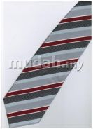 ER19 Red Silver Black White Strip Formal Neck Tie