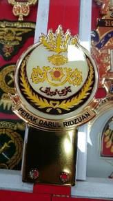 Perak Emblem Badge Gold Plated for Car Num Plate