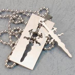 ABPSS-O001 Mens Cross Oblong Stainless Necklace