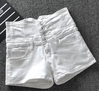 High-waist white denim shorts
