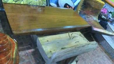 Meja kayu nyatoh dan kerusi