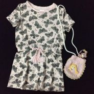 Toddler dress with bag and hair clip in pink