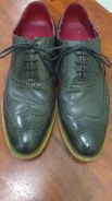 Dark Green Leather Brogue Handmade Goodyear Welted