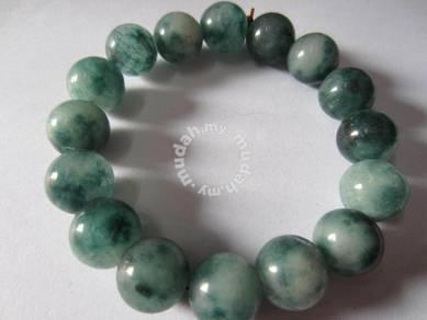 ABBJ-G003 Green White Natural Jade Bracelet 12mm