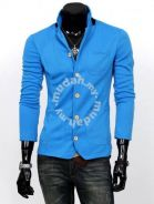 Stylish Stand Collar Knitted Coat Sweater (Blue)
