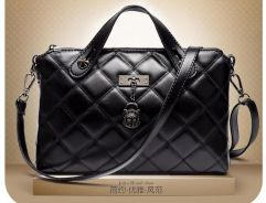Goat Leather Rhombus Pattern Cross Body Bag