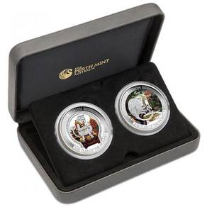Wealth and wisdom 2016 1oz silver two-coin set