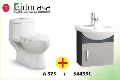 Basin Cabinet Set + Docasa Toilet Bowl Set