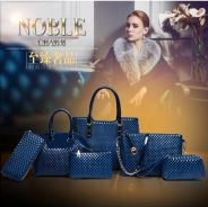 6 In 1 Fashion Diamond Grain Design Bag Blue
