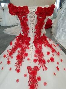 Red wedding bridal prom dress gown RB0358