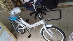 SRD White Folding Bicycle wt Gear and Spring TH625