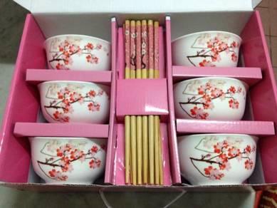 Sakura Bowls + Spoons + Chopsticks Set for 6