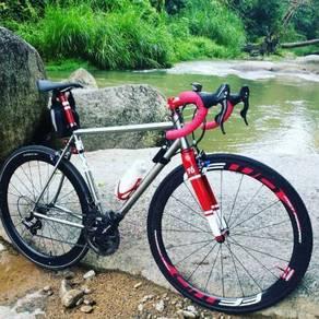 Customize titanium road bike frameset