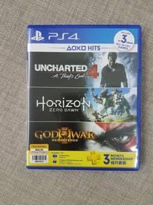 PS4 Horizon, Unchartered 4, God of War 3, PSN PLUS