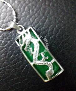 ABPSM-D013 Imperial Green Jade Silver Dragon Neckl