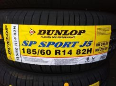 185/60/14 Dunlop SP Sport J5 Tyre 2019 Tayar