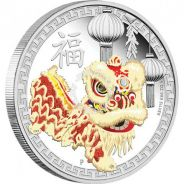 Chinese lion dance 2015 1oz silver proof coin